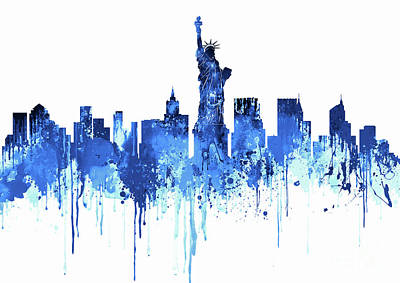 White Painting - New York City Skyline - Watercolour Blue by Prarthana Kulasekara