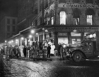 New York City Street At Night, Circa Print by Everett