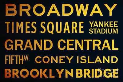 Yankee Stadium Digital Art - New York City Subway Sign Typography Art 2 by Nishanth Gopinathan