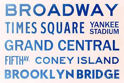 Yankee Stadium Digital Art - New York City Subway Sign Typography Art 5 by Nishanth Gopinathan