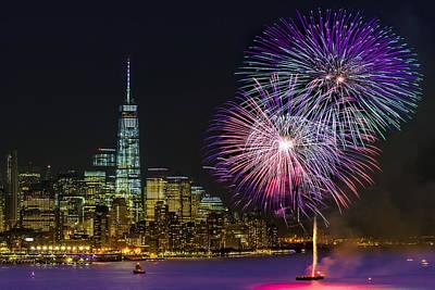 New York City Skyline Photograph - New York City Summer Fireworks by Susan Candelario