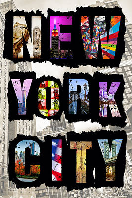 Empire State Digital Art - New York City Text 2 by Az Jackson