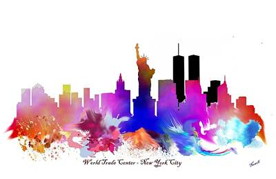 New York City Skyline Drawing - New York City Watercolor Art by Peter Nowell
