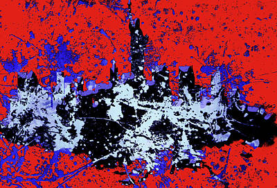 Mapping Mixed Media - New York Cityscape 4a by Brian Reaves