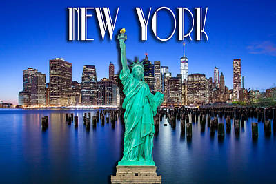 New York Classic Skyline With Statue Of Liberty Print by Az Jackson