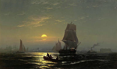 Edward Moran Painting - New York Harbor In Moonlight by Edward Moran