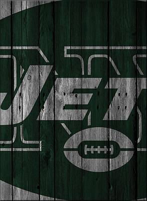 New York Jets Wood Fence Print by Joe Hamilton