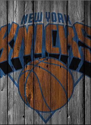 New York Knicks Wood Fence Print by Joe Hamilton