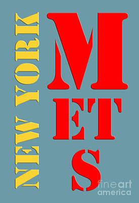 Thor Digital Art - New York Mets Baseball New Typography by Pablo Franchi