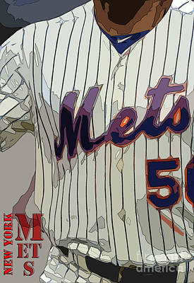New York Mets Baseball Team And New Typography Print by Pablo Franchi