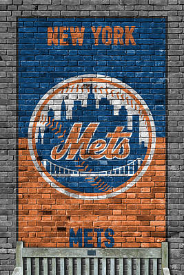 New York Mets Brick Wall Print by Joe Hamilton