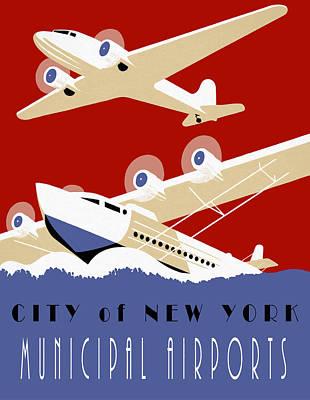Nyc Mixed Media - New York Muni Airports W P A Redux by Daniel Hagerman