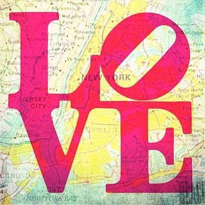Nyc Mixed Media - New York New Jersey Love by Brandi Fitzgerald