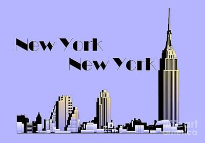 New York City Skyline Drawing - New York New York Skyline Retro 1930s Style by Heidi De Leeuw