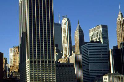 Framed Photograph - New York Photo Art - Downtown Manhattan Skyline by Art America Online Gallery