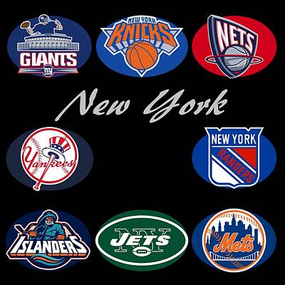 New York Professional Sport Teams Collage  Print by Movie Poster Prints
