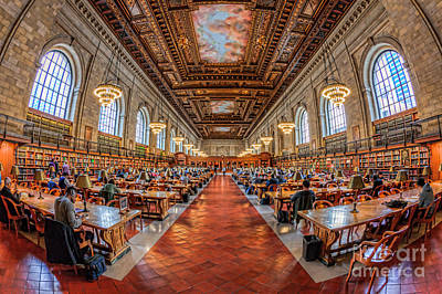 New York Public Library Main Reading Room I Print by Clarence Holmes