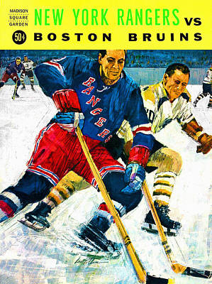 National Hockey League Painting - New York Rangers V Boston Bruins Vintage Program by Big 88 Artworks