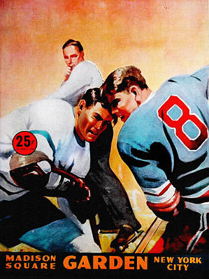 National Hockey League Painting - New York Rangers V Leafs Vintage Program by Big 88 Artworks