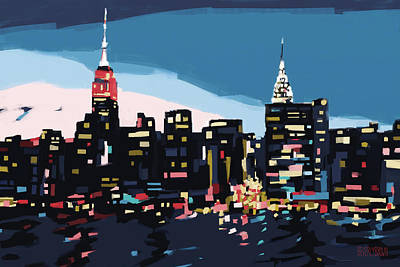 New York Skyline At Dusk In Navy Blue Teal And Pink Print by Beverly Brown