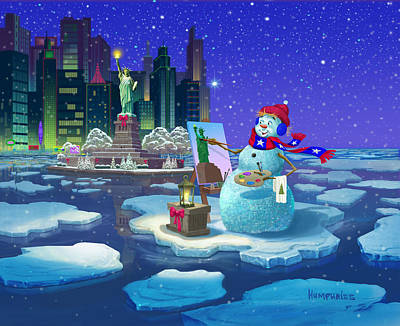 Statue Of Liberty Painting - New York Snowman by Michael Humphries