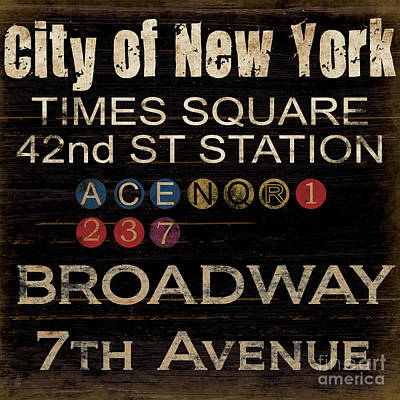 Broadway Mixed Media - New York Subway by Grace Pullen
