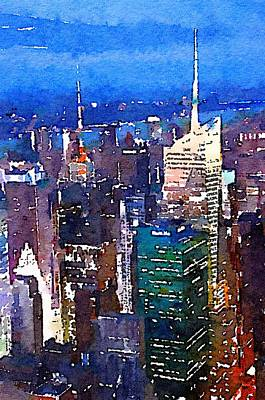 Times Square Digital Art - New York Time Square - Watercolor by Marianna Mills