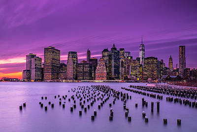 New York Violet Sunset Print by J.g. Damlow