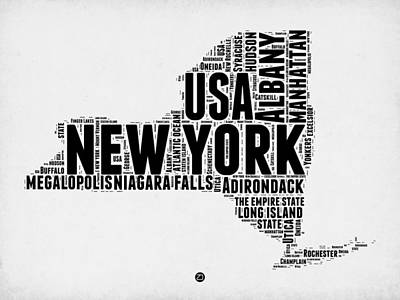 Buffalo Digital Art - New York Word Cloud Map 2 by Naxart Studio