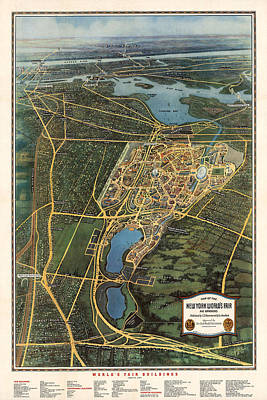 World Map Poster Photograph - New York Worlds Fair 1939 by Andrew Fare