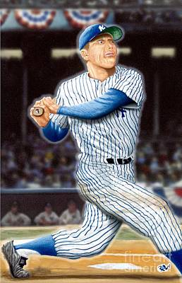 Mickey Mantle Drawing - New York Yankee Mickey Mantle Tape Measure Shot by Robert Williams