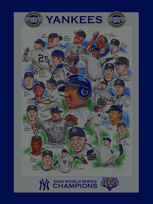 Yankees Drawing - New York Yankees 2009 World Series Champions by Dave Olsen