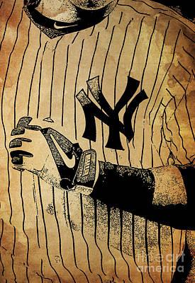 Nyc Mixed Media - New York Yankees Baseball Team Vintage Card by Pablo Franchi