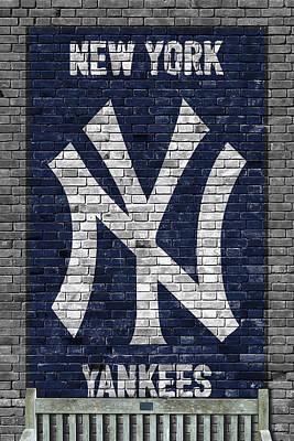 New York Yankees Brick Wall Print by Joe Hamilton