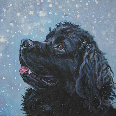 Newfoundland In Snow Print by Lee Ann Shepard