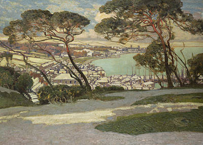 Rooftops Painting - Newlyn   Penzance by Sir Alfred East