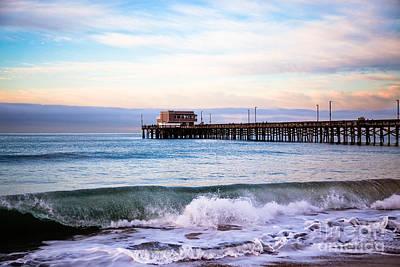 Color Image Photograph - Newport Beach Ca Pier At Sunrise by Paul Velgos