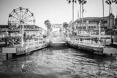 Newport Beach Ferry Dock Black And White Photo Print by Paul Velgos