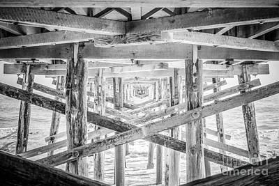 Newport Beach Pier Black And White Photo Print by Paul Velgos