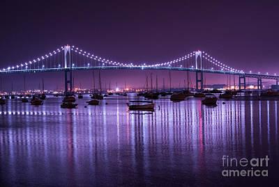 Newport Bridge At Night Print by Juli Scalzi