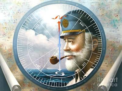 News  Map Captain  Or  Sea Captain Print by Yoo Choong Yeul