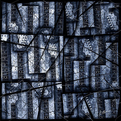 Guitar Digital Art - Nexxus 02 Slate Blue by Gary Bodnar