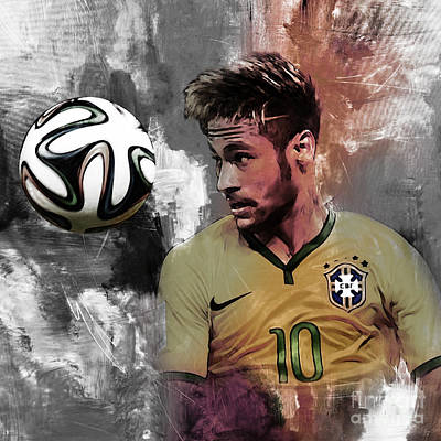 Cristiano Ronaldo Painting - Neymar 051a by Gull G