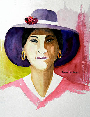 Gold Earrings Painting - Nice Hat by John Wolfersberger