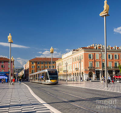 Nice Tramway At Place Massena Print by Elena Elisseeva