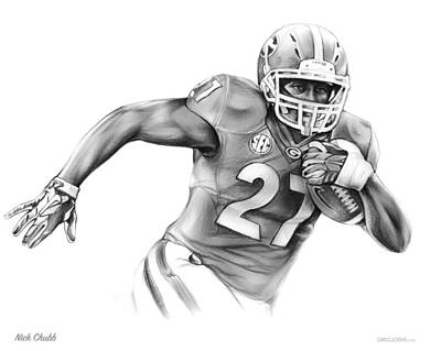 Football Drawing - Nick Chubb by Greg Joens