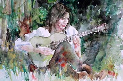 Nick Drake - Watercolor Portrait.6 Original by Fabrizio Cassetta