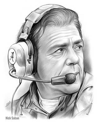 Football Drawing - Nick Saban by Greg Joens