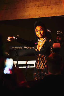 Nicki Minaj Holding Mic Print by Chuck Brown