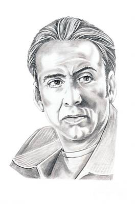 Celebrity Drawing - Nicolas Cage by Murphy Elliott